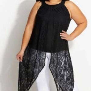Ashley Stewart LACE SLIT ACCENT DUSTER TOP S:26/28